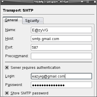 Konfigure gmail mail server in Kmail - Networking, Linux